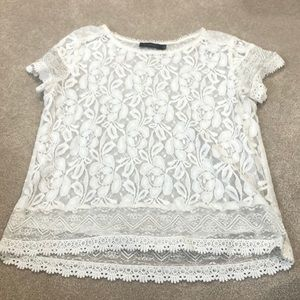 The Limited white sheer lace blouse. EUC